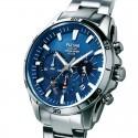 Montre homme chronographe solaire fond bleu