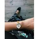 Montre femme dorée bracelet cuir marron